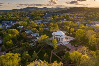Aerial view of UVA Grounds.